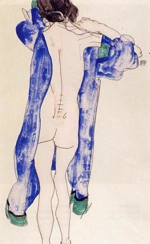 Egon Schiele - Standing Female Nude In A Blue Robe