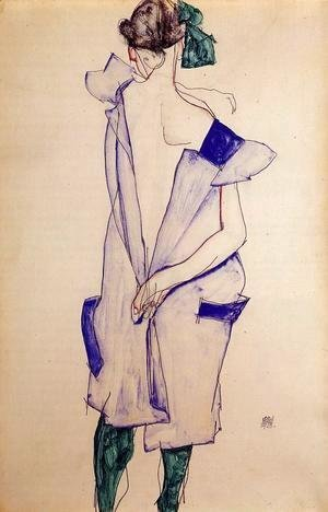Egon Schiele - Standing Girl In A Blue Dress And Green Stockings  Back View