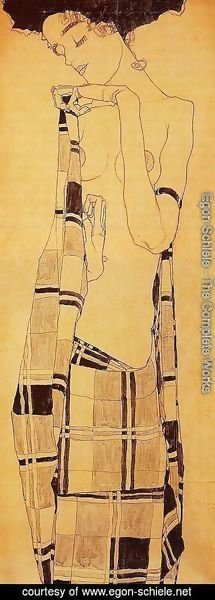 Egon Schiele - Standing Girl In A Plaid Garment