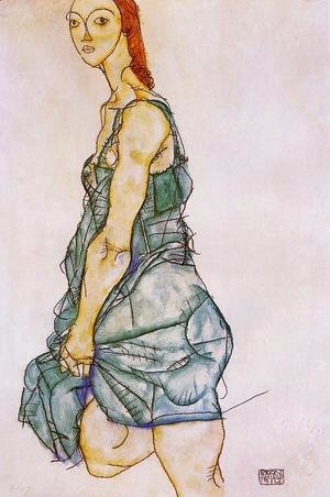 Egon Schiele - Standing Woman In A Green Skirt