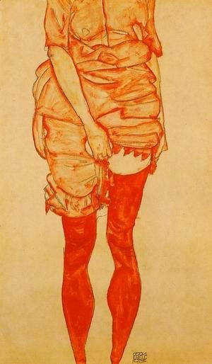 Egon Schiele - Standing Woman In Red