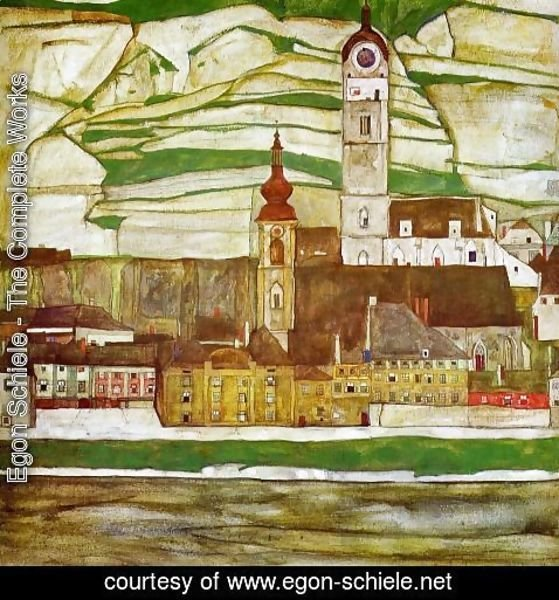 Egon Schiele - Stein On The Danube With Terraced Vineyards