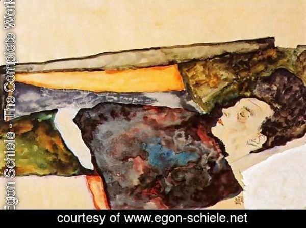 Egon Schiele - The Artists Mother  Sleeping
