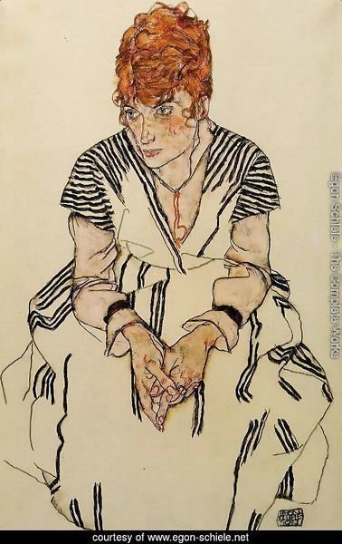 The Artists Sister In Law In A Striped Dress  Seated