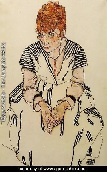 Egon Schiele - The Artists Sister In Law In A Striped Dress  Seated