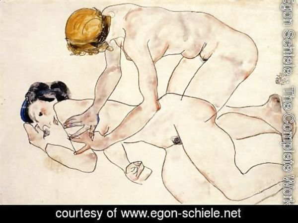 Egon Schiele - Two Female Nudes  One Reclining  One Kneeling Aka The Friends