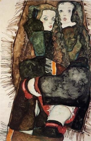Egon Schiele - Two Girls On A Fringed Blanket