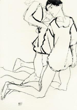 Egon Schiele - Two Kneeling Figures Aka Parallelogram