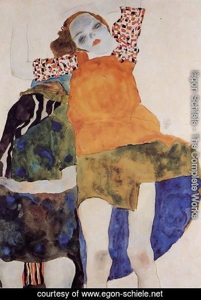 Egon Schiele - Two Seated Girls