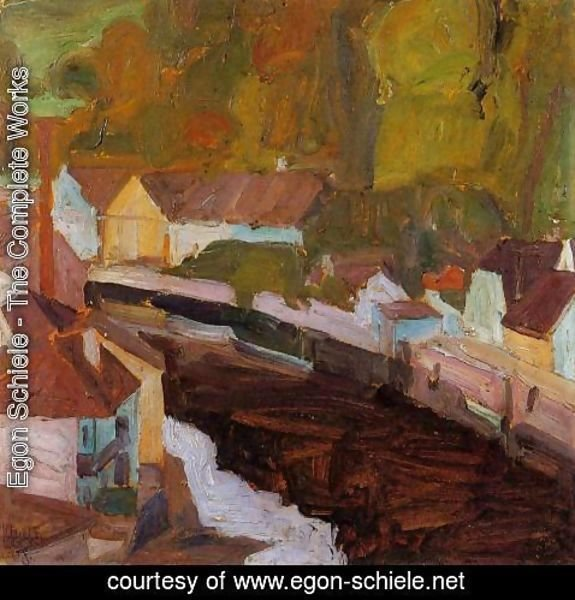 Egon Schiele - Village By The River II