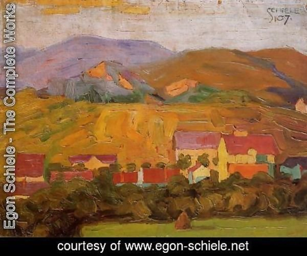 Egon Schiele - Village With Mountains