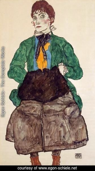 Egon Schiele - Woman In A Green Blouse And Muff