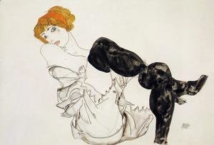 Egon Schiele - Woman In Black Stockings