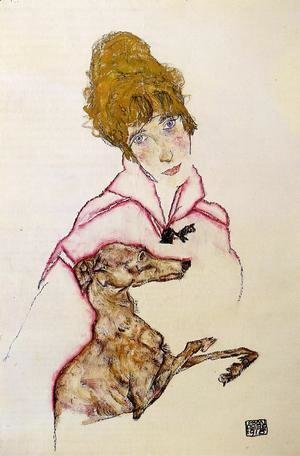 Egon Schiele - Woman With Greyhound Aka Edith Schiele
