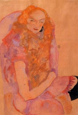 Egon Schiele - Woman With Long Hair